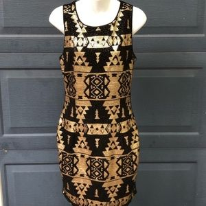 Skies Are Blue | Black & Gold Sequin Aztec Dress
